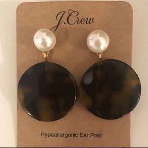 J Crew pearl and tortoise earrings